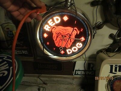 Huge Lighted Working Red Dog Beer Advertising Clock Wow