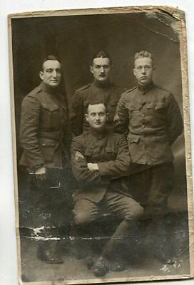 Original REAL PHOTO POSTCARD WWI US Soldiers Doughboys French Postcard