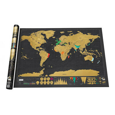 Scratch Off World Map Poster Personalized Travel Vacation Log Gift Memory Decor