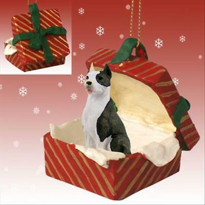 Pit Bull Terrier Brindle Dog RED Gift Box Holiday Christmas ORNAMENT