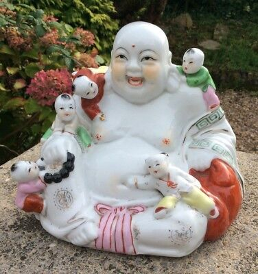 Large Pottery Vintage Laughing Chinese Fertility Buddha Good Luck Babies