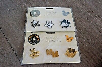 Disney Store Exclusive Mickey Mouse Memories Pin Set - February and January Lot