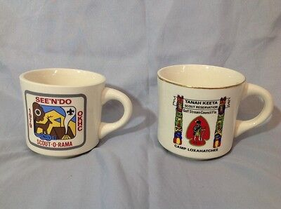 Lot of Two Vtg BOY SCOUTS OF AMERICA B.S.A. Coffee Mugs Cups Totem Scout O Rama