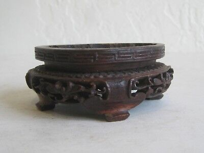 Fine Old Chinese Hardwood Pierced Carved Wood Stand Coral Porcelain Jade Statue