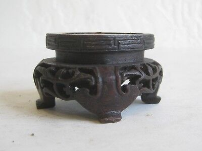 Fine Old Chinese Hardwood Pierced Carved Wood Stand Coral Jade Statue Figurine
