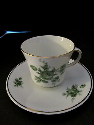 Vintage bavaria cup & saucer pmr green flowers. Bone China. Gold Rim.