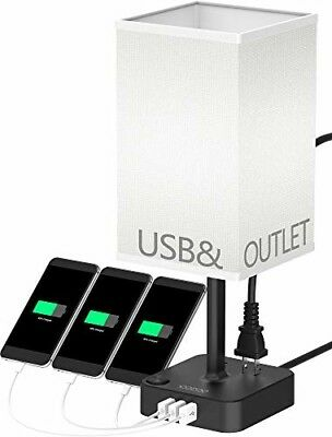 COZOO USB Bedside Table Desk Lamp with 3 USB Charging Ports and 2 Outlets