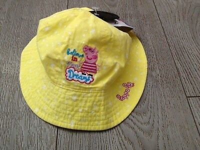 M&S girl sun hat 18-36 months peppy pig yellow  BNWT marks and spencers children