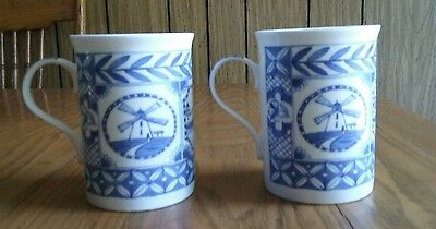 Crown Trent ~ Fine Bone China ~ Indigo ~ 2 Mugs Cups ~ Blue & White