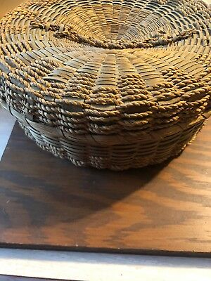 Vintage Chinese Round Sewing Basket With Accessories
