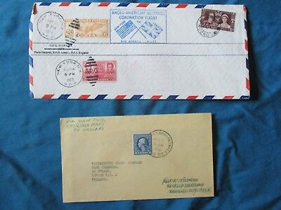 1936-37 (2) 1st trip RMS Queen Mary to England CORONATION FLIGHT Stamps,Covers!