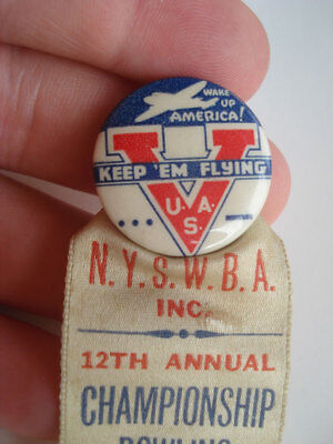 Wwii Homefront Keep Em Flying Pinback ~ 1944 Rochester Ny Bowling Badge