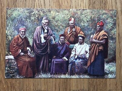 China Old Postcard Tibet Group Of Priests Buddhist Religion To France 1907 !!
