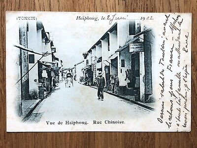 China Old Postcard Chinese Road View Of Haiphong To Germany 1902 !!