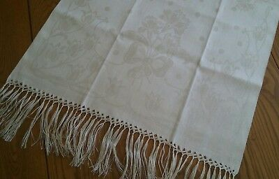 "Never Used ~ Nos ~ Vintage 44"" Linen Damask Fringed Display Towel ~ Floral"