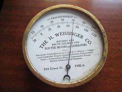 ANTIQUE  H. WEISSINGER CO PHILA FAHRENHEIT ROUND METAL THERMOMETER -Brushes