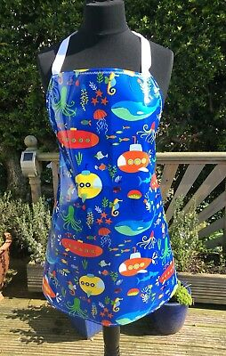 Adult/ladies Apron Cooking/craft Pvc Wipe Clean Under The Sea Design. Ideal Gift