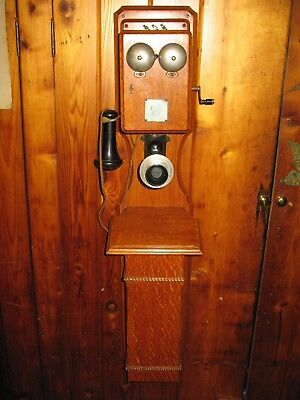 Rare Antique Eureka Electric Co ( Cracraft Leich ) Large Wall Telephone Oak Case