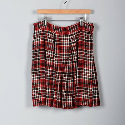 1960s Girls Skirt Plaid Pleated Red Gray White Vintage Autumn Separates