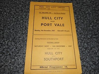 HULL CITY  v  PORT VALE  1957/8  F A CUP 2nd ROUND (REPLAY) ~ DEC 9  S/S *RARE*