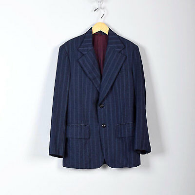 1970s Boys Sportcoat  Blue Pinstripe Two Button Jacket Blazer VTG Childrens