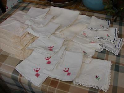 Job Lot of 21 Asst Vintage Table Napkins~Linen,Cotton~Embroidery~Various Sizes