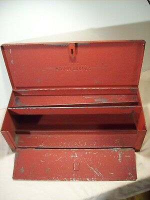 1940's~PLOMB TOOL CO.~9980~ORIG. RED METAL TOOL BOX~SOCKETS, WRENCHES, STORAGE~