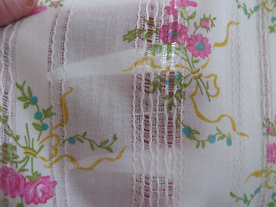 "BTY Vintage Cotton Fabric Pink Roses - Semi Sheer - Pulled Thread - 45"" w"