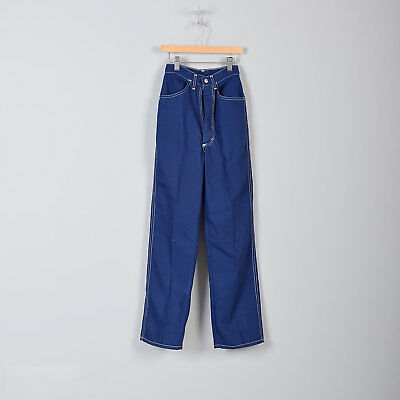 1970s Childrens Pants Navy Blue Straight Leg White Stitching Top Stitch