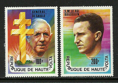 Burkina Faso #434-5 Mint Never Hinged Set - De Gaulle - King Baudouin