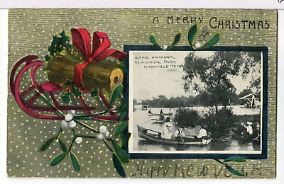 1909 - Christmas Log and Inset Picture of Boaters, Lake Watauga TN Postcard