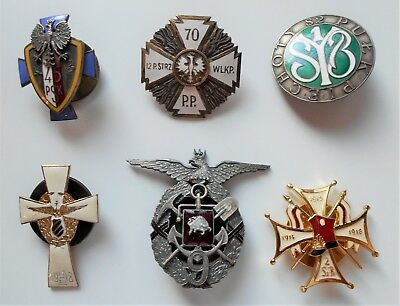 6 Polish Badges For Infantry And Lt. Horse Regtiments And A Sapper Batn.