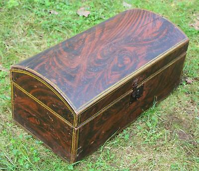 Folk Art Painted Domed Trunk
