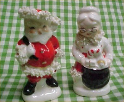 vintage pair christmas salt pepper shakers napco mr mrs claus spaghetti trim - Christmas Salt And Pepper Shakers