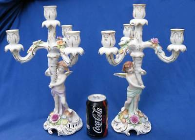 Pair Antique Schierholz Sohn German Porcelain 4 Light Candelabra Cherubs Flowers