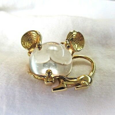 "Vintage Signed P&M Paris BIG HEAD MOUSE LUCITE ""JELLY BELLY"" Brooch Pin"