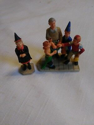 Lemax Spookytown Halloween figures Trick or treaters Haunted house sign Witch