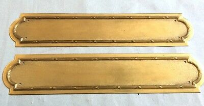 Pair 2 x ANTIQUE BRASS BATON AND REED DOOR FINGER PLATES vintage Victorian