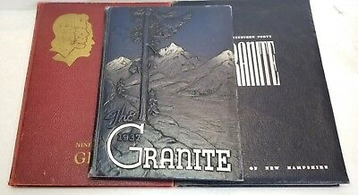 Vintage 1937, 1939, & 1940 University of New Hampshire Granite Yearbooks Lot UNH