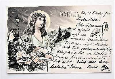 A/S Fronot Art Nouveau MONDAY Day of the Week Early UDB 1900 Postcard