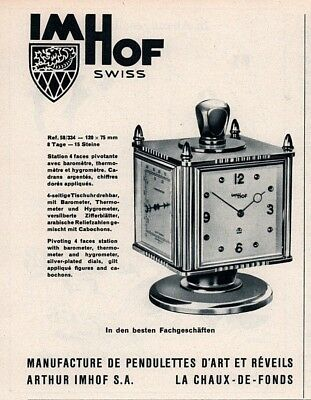 1958 A Ad Swiss Imhof Swiss Clock 4 Sided Thermometer Barometer Hygrometer