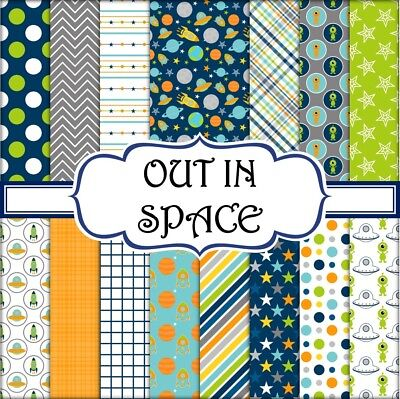 OUT IN SPACE SCRAPBOOK PAPER -  15 x A4 pages