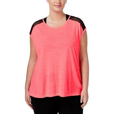 Material Girl Womens Pink Mesh Inset Fitness T-Shirt Athletic Plus 1X BHFO 1053