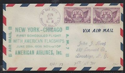 First Flight American Airlines, Chicago to New York, 6/25/36