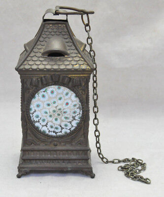 Unusual VTG Cottage House Shaped Candle Lantern Millefiori Art Glass Panels