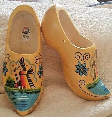 Hand Carved Painted Dutch Wooden Shoes Klompen Holland Windmill 27 CM sz 41-42