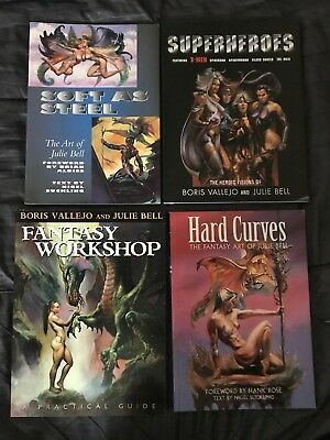 4 Julie Bell Art Books - Superheroes/hard Curves/fantasy Workshop/soft As Steel