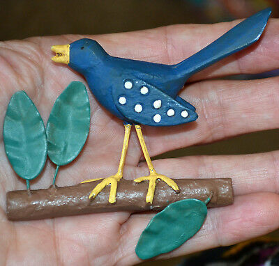 Amazing Vintage Large Blue Bird Carved Wood Hand Painted Brooch, Pin