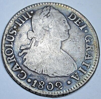 1802 IJ Spanish Silver 2 Reales Piece of 8 Real US Colonial Pirate Treasure Coin