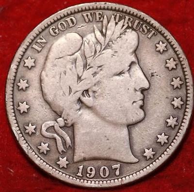 1907 Philadelphia Mint Silver Barber Half Dollar